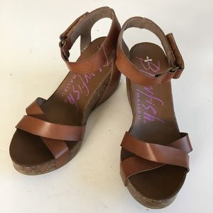 Blowfish leather wedge sandals